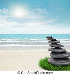 Zen-like stones inclination. 3d and photo montage