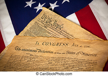 United States Constitution and Declaratin of Independence On flag