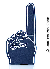 Blue foam finger with first finger pointing up - A blue foam...