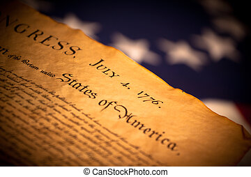 United States Declaration of Independence on flag background...