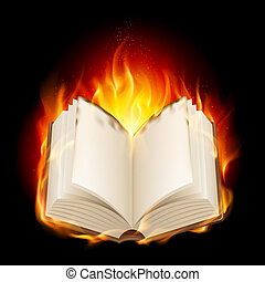 Burning book Illustratin on black background for design