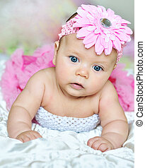 little pink flower-girl - 3 monthes old baby wearing pink...