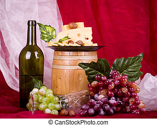 wine, grape, cheese and barrel - composition with wine,...