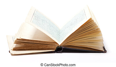 open old book on white background - Open old map book on...
