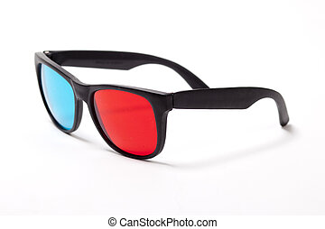 plastic 3D glasses over white - Stereo 3D glasses on white....