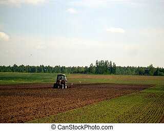 tractor plough cultivation