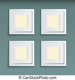 Picture frame green background - Modern white wood picture...