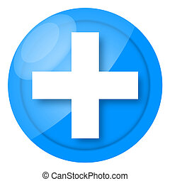 Medical icon - Glossy blue medical icon with cross isolated...