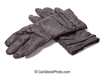 Ladies black leather gloves over white background