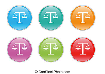 Justice scale icons in diferents colors