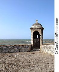 Defense wall guard tower detail - Watch tower on Cartagena...