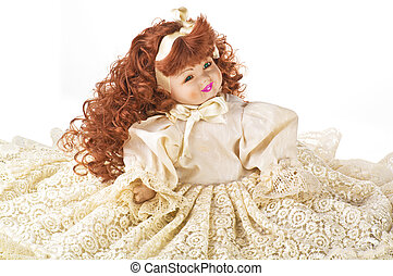 porcelain doll on white background