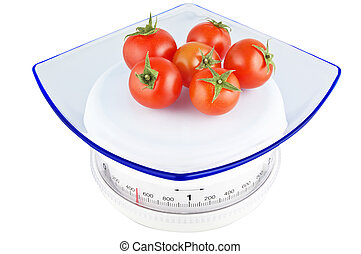 Plate of tomatoes on the balance