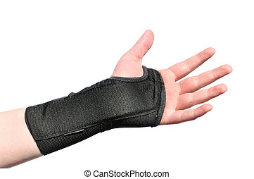 Black Wrist Brace - Arm Wrapped in a Black Wrist Brace...