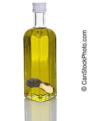 Bottle of truffle oil on white