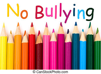 No Bullying - A pencil crayon border isolated on white...