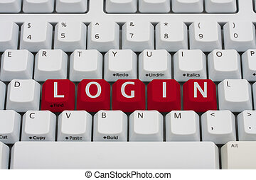 Login Online - A computer keyboard with red keys spelling...