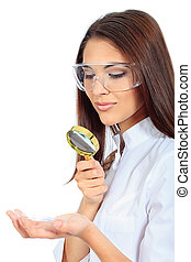 microbe - Portrait of a beautiful woman doctor looking...