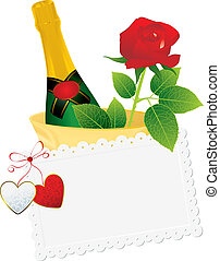 champagne and vintage card