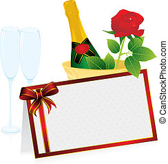 champagne and invitation card