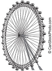 ferris wheel - silhouette of ferris wheel isolated on white