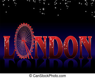 sign London with ferris wheel