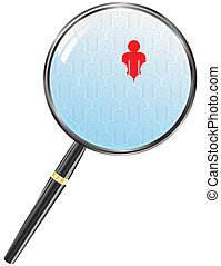 search people - magnifier lens and abstract people...