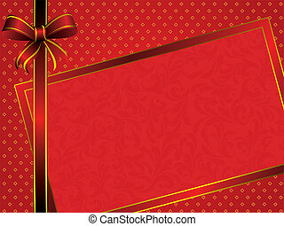 red frame with bow