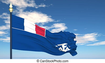 Flag Of French Southern and Antarctic Lands on the...