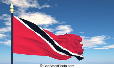Flag Of Trinidad and Tobago on the background of the sky and...