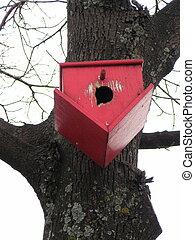 upside down birdhouse - red upside down birdhouse in winter