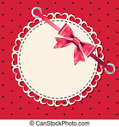 Vector greeting card with frame and bow. Space for your text or picture.
