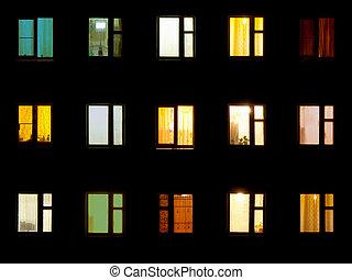 noturna, janelas, -, bloco, apartamentos, fundo