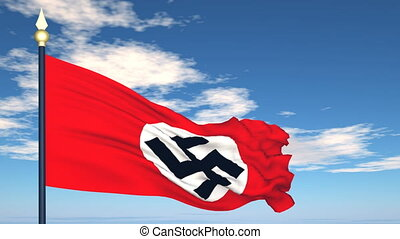 Flag Of nazi Germany on the background of the sky and flying...