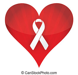 red heart with white ribbon