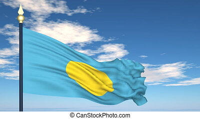 Flag Of Palau on the background of the sky and flying...