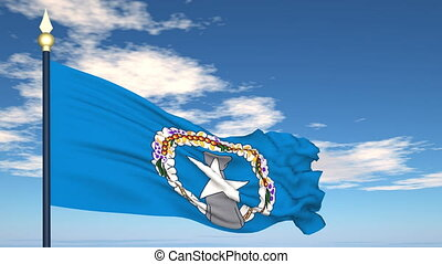 Flag Of Northern Mariana Islands on the background of the...