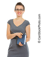 Student woman with notebook and pen