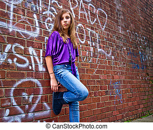 Girl and Grungy Wall
