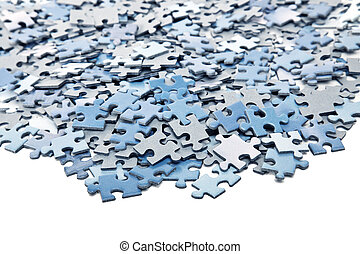 elements of blue jigsaw puzzle isolated over white...