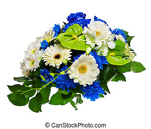 Bouquet of gerberas, chrysanthemums and anthurium isolated...