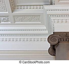 Intricate plaster cornice ceiling