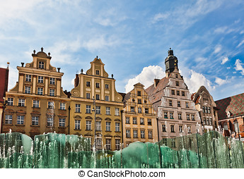 Wroclaw, fountain at the town square - Wrocaw German:...