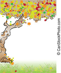 Format Letter Tree fall - Autumn. Old tree with deciduous...