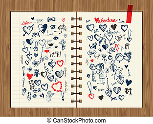 Valentine sketch on notebook sheet for your design