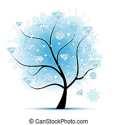 Winter tree with diamonds for your design