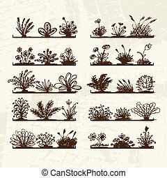 Sketch of plants on shelves for your design