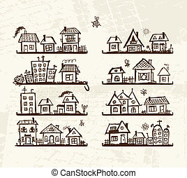 Sketch of cute houses on shelves for your design