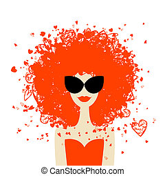 Woman portrait with orange hairstyle, summer style for your...