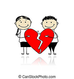 Valentine day. Couple with two parts of big red heart